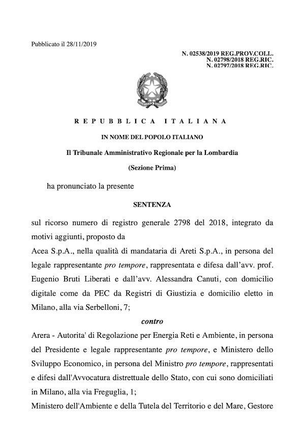 sentenza TAR contributo tariffario TEE